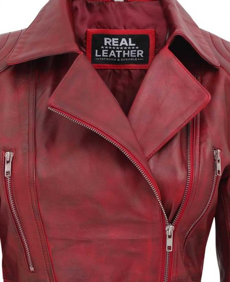 Victoria Biker Burgundy Asymmetrical Leather Jacket Womens