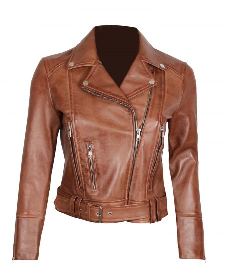Elisa Brown Asymmetrical Moto Short Leather Jacket Womens