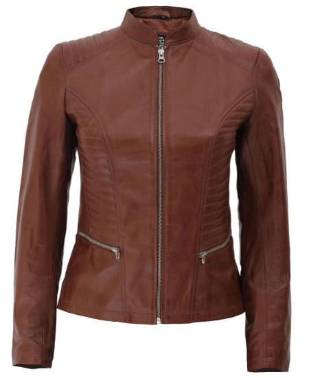 Rachel Womens Cognac Leather Jacket