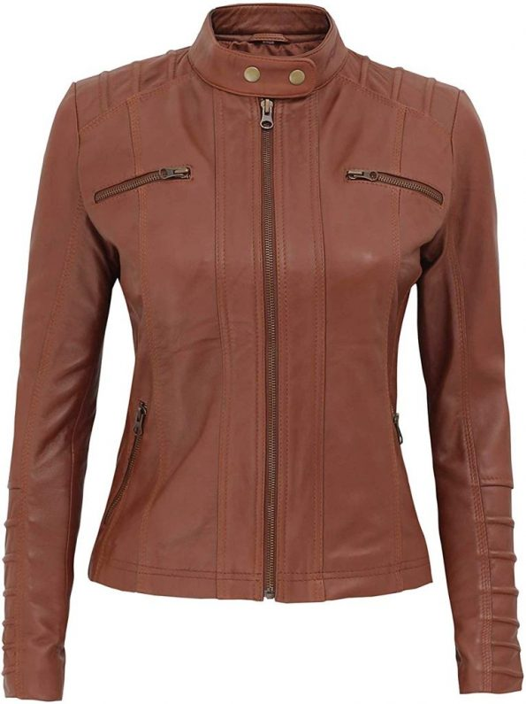 Aversa Womens Brown Leather Jacket