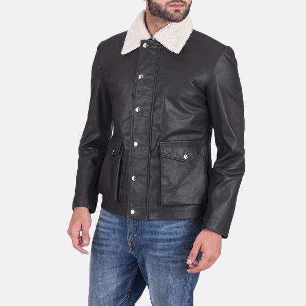 Snow Cole Black Leather Jacket
