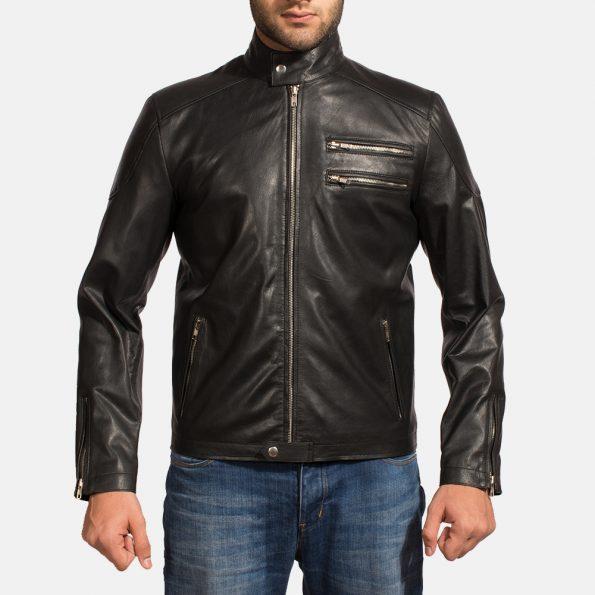 Onyx Black Leather Biker Jacket