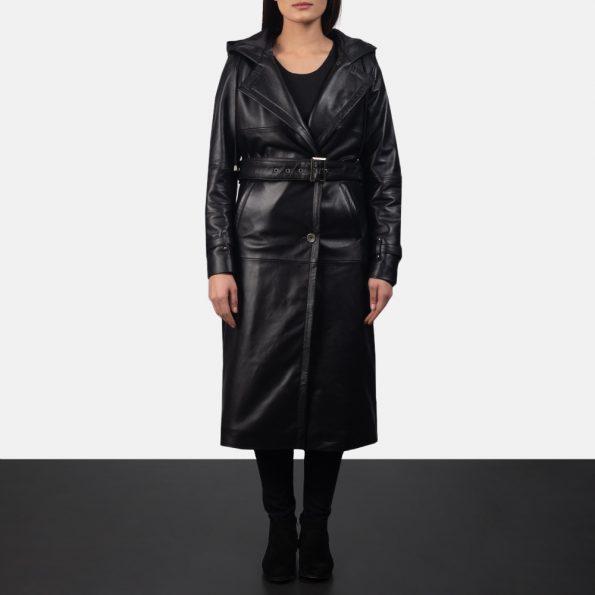 Fixon Hooded Black Trench Coat
