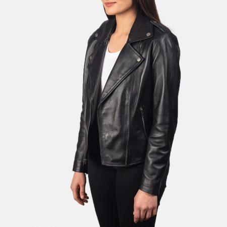 Flashback Black Leather Biker Jacket