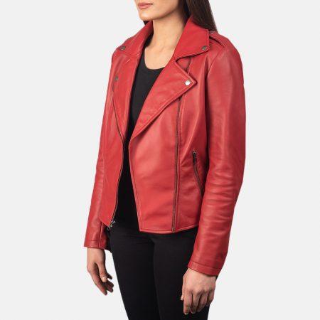 Flashback Red Leather Biker Jacket