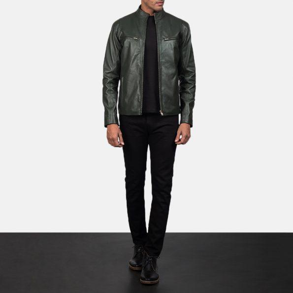 Ionic Green Leather Biker Jacket