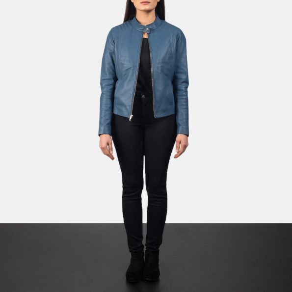 Kelsee Blue Leather Biker Jacket