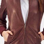 Reida Maroon Leather Bomber Jacket