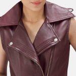 Rhonda Maroon Leather Biker Vest