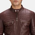 Urbane Quilted Maroon Leather Biker Jacket
