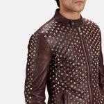 Blix Bono Maroon Leather Biker Jacket