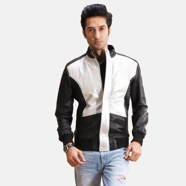Spade Silver Black Leather Bomber Jacket