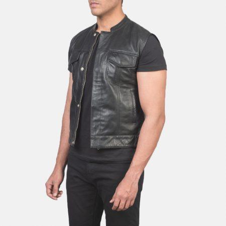 Atlas Moto Black Leather Vest