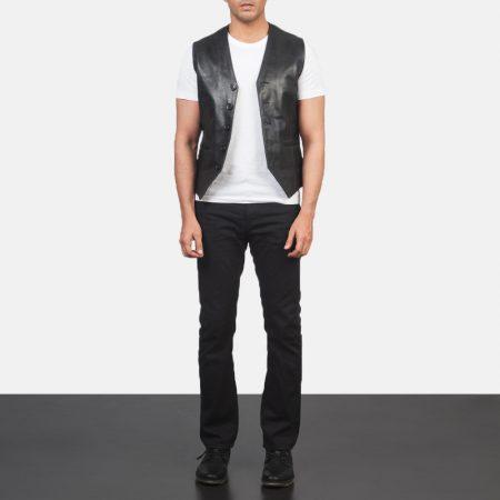Auden Black Leather Vest
