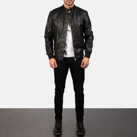 Avan Black Leather Bomber Jacket