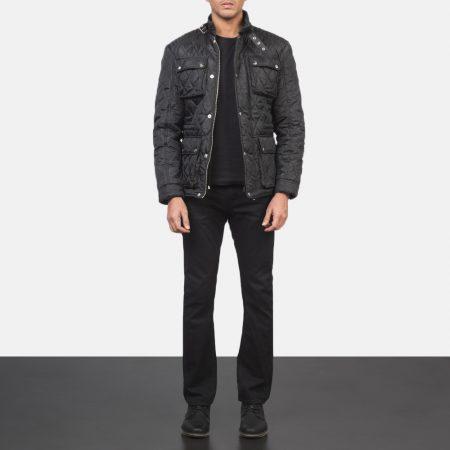 Barry Quilted Black Windbreaker Jacket