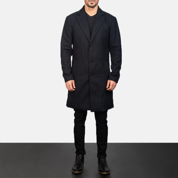Petrillo Black Wool Single Breasted Coat