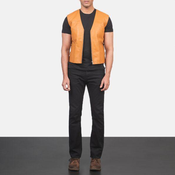 Brandon Tan Brown Leather Vest