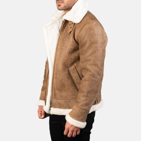 Francis B-3 Distressed Brown Leather Bomber Jacket