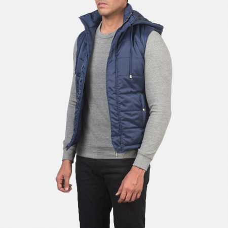 Fuston Blue Hooded Puffer Vest