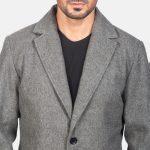 Petrillo Grey Wool Single Breasted Coat