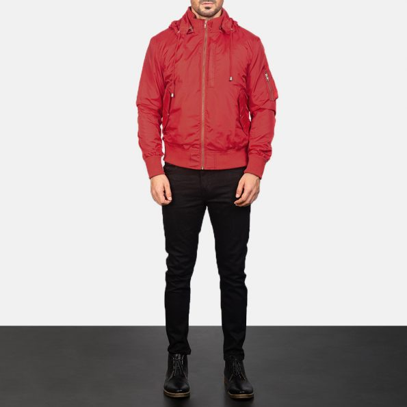 Hanklin Ma-1 Red Hooded Bomber Jacket