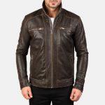 Hudson Brown Leather Biker Jacket
