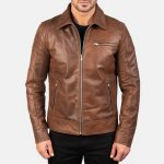 Lavendard Brown Leather Biker Jacket