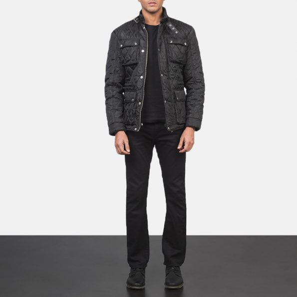 Nelson Quilted Black Windbreaker Jacket