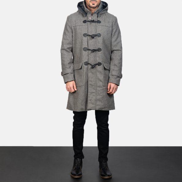Drake Grey Wool Duffle Coat