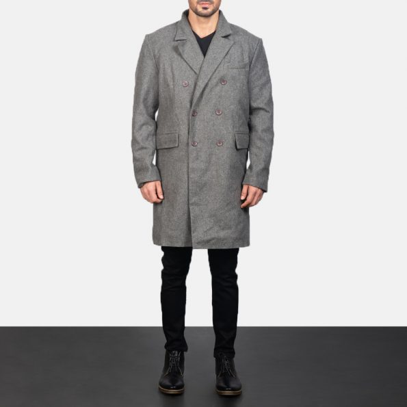 Claud Grey Wool Double Breasted Coat