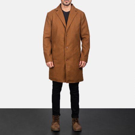Petrillo Khaki Wool Single Breasted Coat