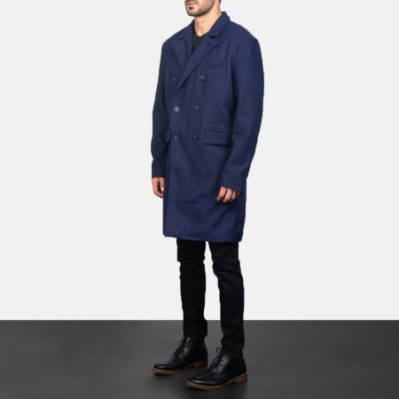 Claud Blue Wool Double Breasted Coat