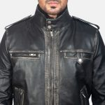 Glen Street Black Leather Bomber Jacket