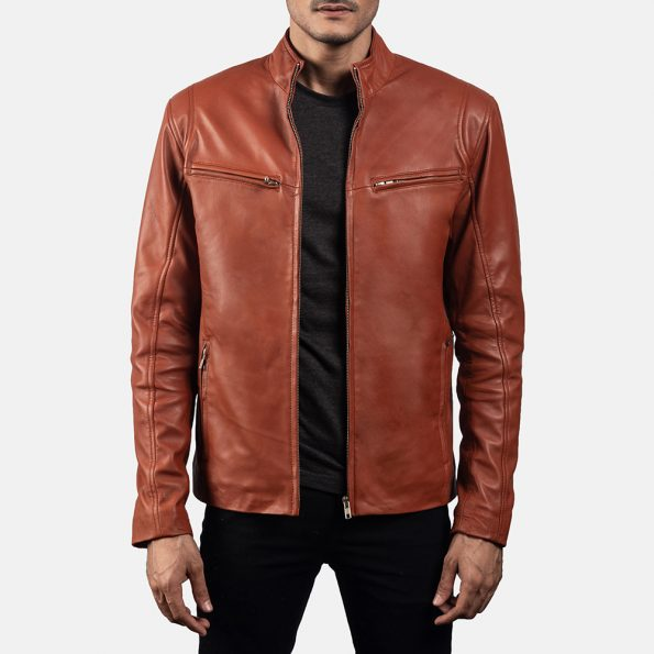 Ionic Tan Brown Leather Biker Jacket