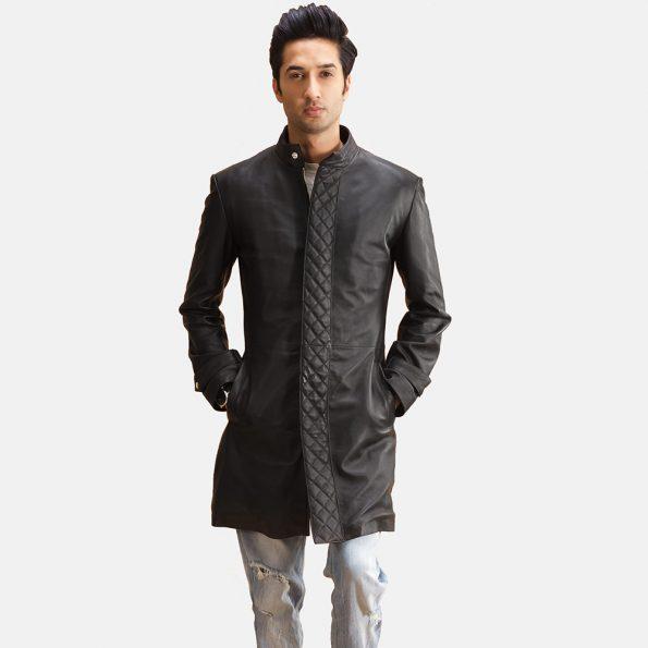 Midlander Quilted Black Leather Coat