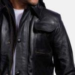 Moulder Hooded Black Leather Jacket