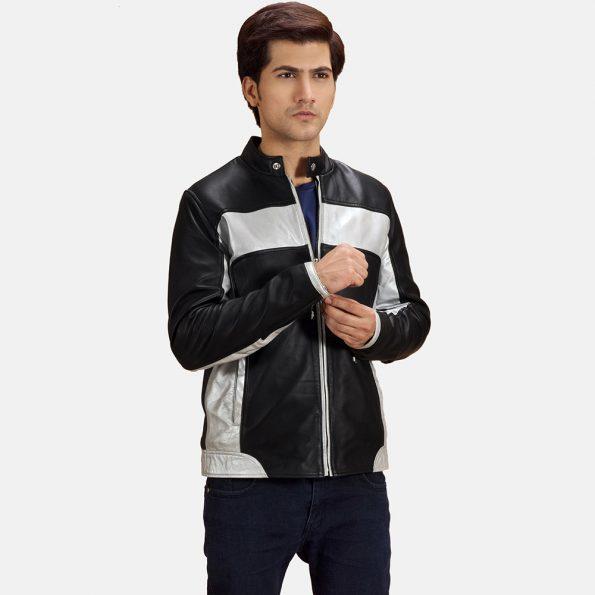 Randolf Silver Black Leather Biker Jacket