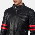 Monza Black & Red Leather Biker Jacket