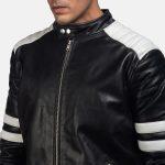 Monza Black & White Leather Biker Jacket