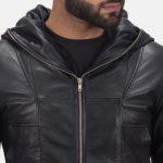 Spratt Black Hooded Leather Jacket