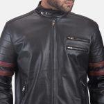 Monza Black & Maroon Leather Biker Jacket