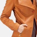 Lee Tan Brown Leather Blazer