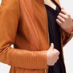Sleeky Clean Tan Leather Biker Jacket