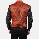 Avan Black & Maroon Leather Bomber Jacket