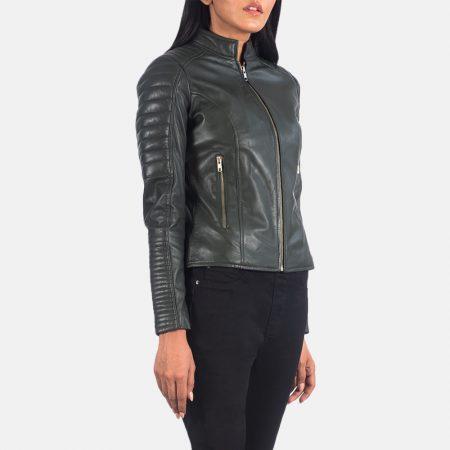 Adalyn Quilted Green Leather Biker Jacket