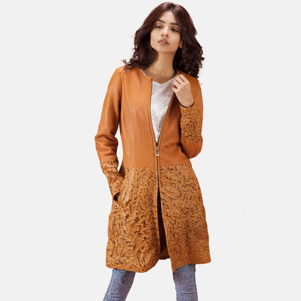 Sandy Tan Dye Leather Coat